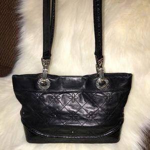 BRIGHTON Diamond Stitched Glove Soft Black Leather